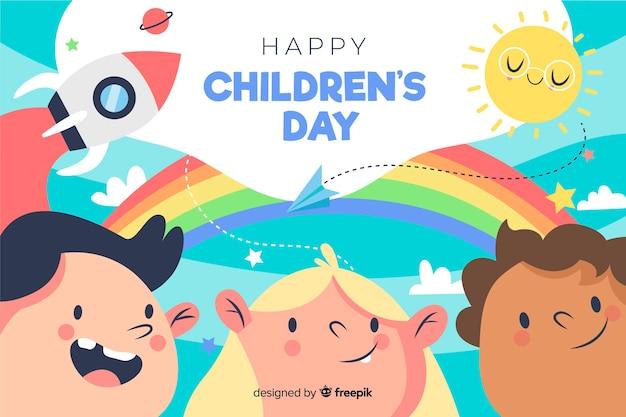 Ilustración del día de los niños dibujados a mano vector gratuito