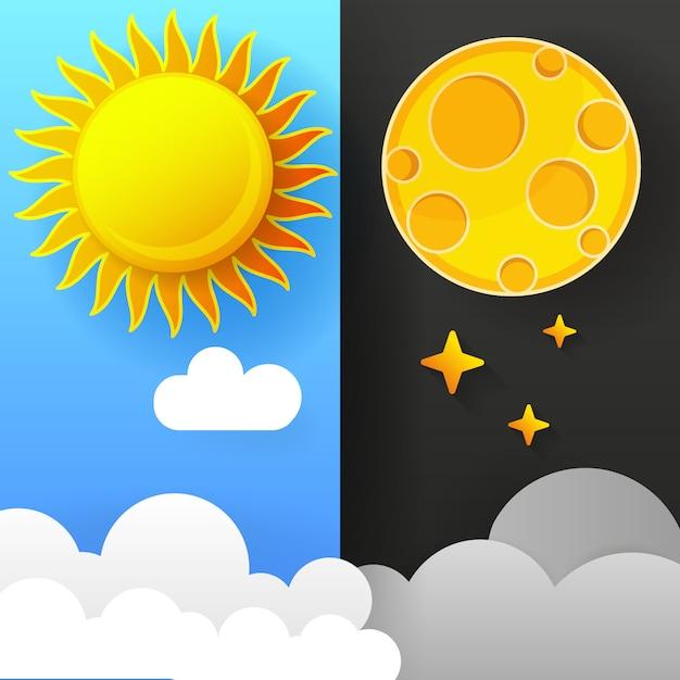 Ilustración del día y de la noche. día noche concepto, sol y luna Vector Premium