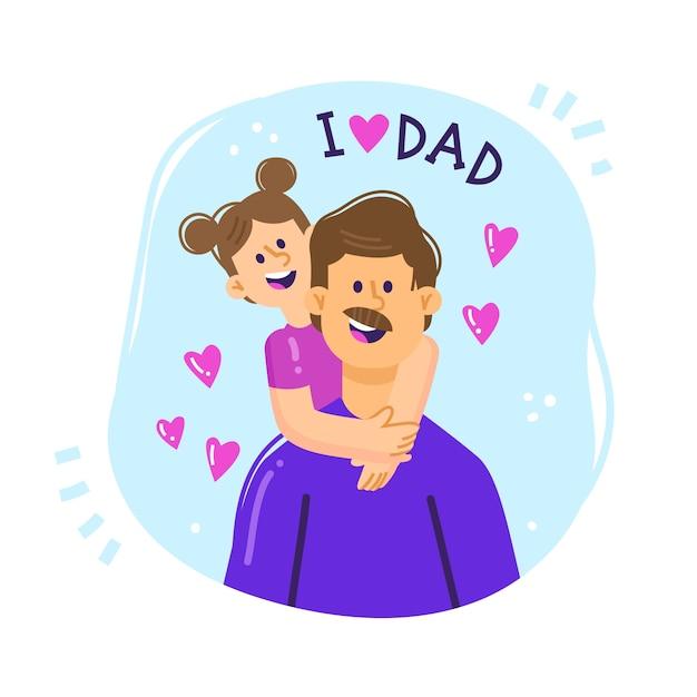 Ilustración del día del padre de papá con su hija vector gratuito