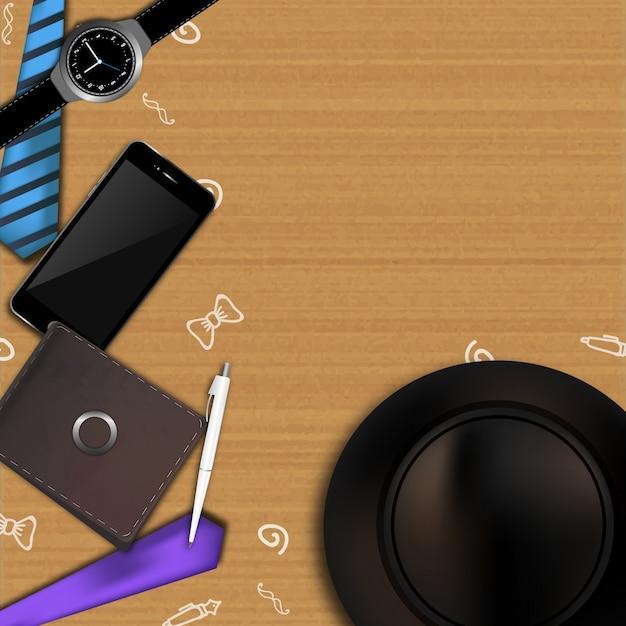 f18aae8a0 Ilustración del día de los padres con billetera, móvil, reloj, corbata y  sombrero y espacio para los deseos | Descargar Vectores gratis