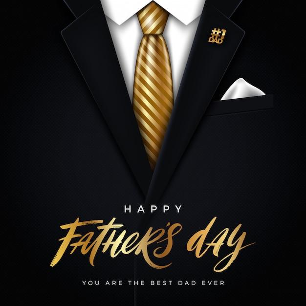 Ilustración del día de padres feliz - tarjeta de felicitación. Vector Premium