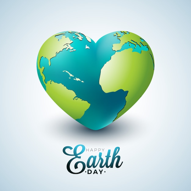 Ilustración del día de la tierra con el planeta en el corazón. Vector Premium