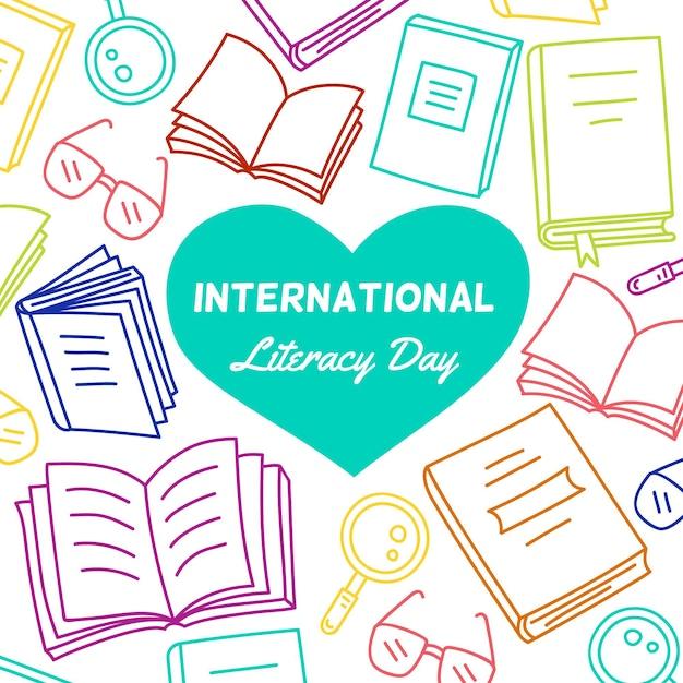 Ilustración dibujada del día de la alfabetización vector gratuito