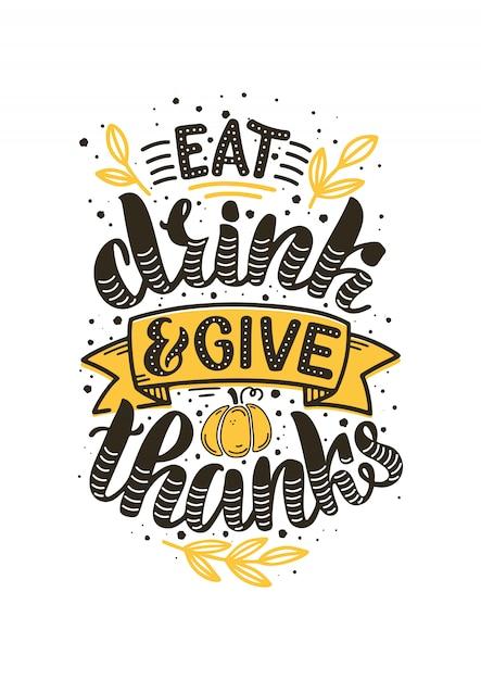 Ilustración dibujada a mano para el día de acción de gracias Vector Premium