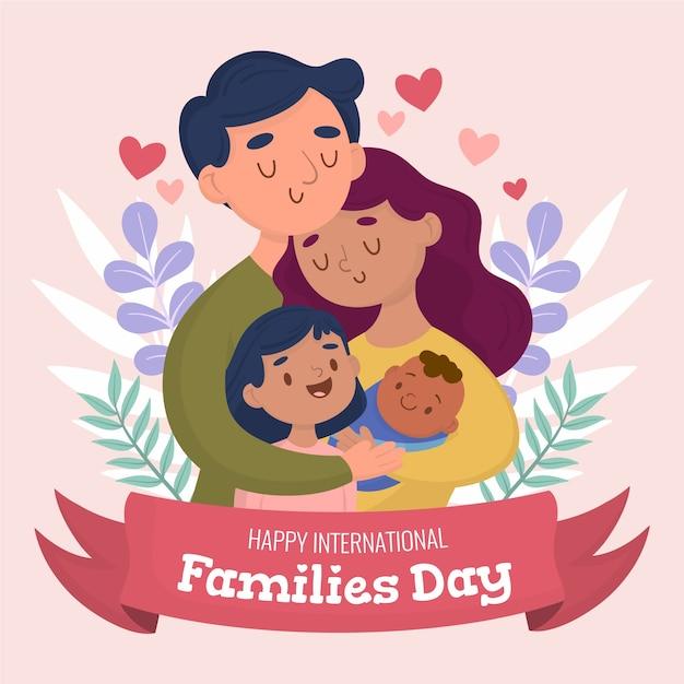 Ilustración dibujada a mano para el día internacional de las familias Vector Premium