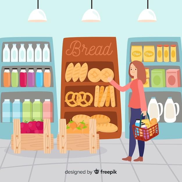 Ilustración dibujada a mano gente en el supermercado vector gratuito