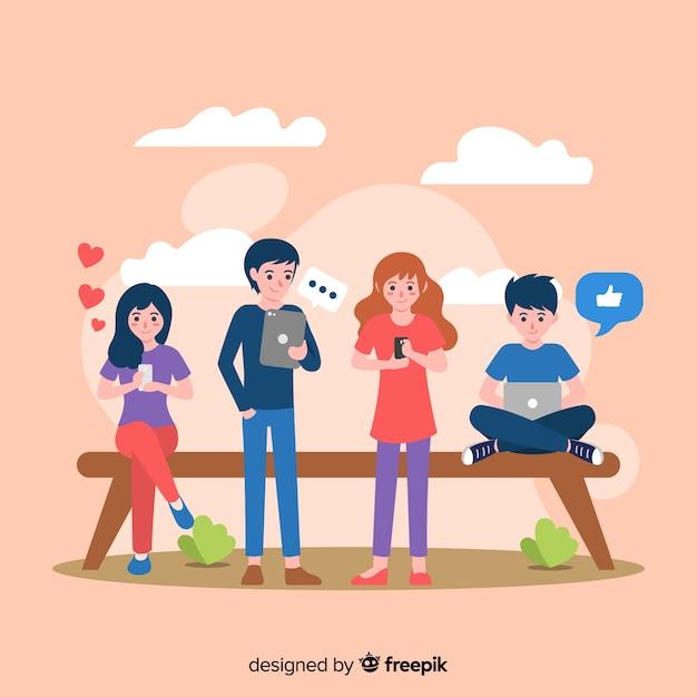 Ilustración dibujada a mano gente usando dispositivos electrónicos vector gratuito