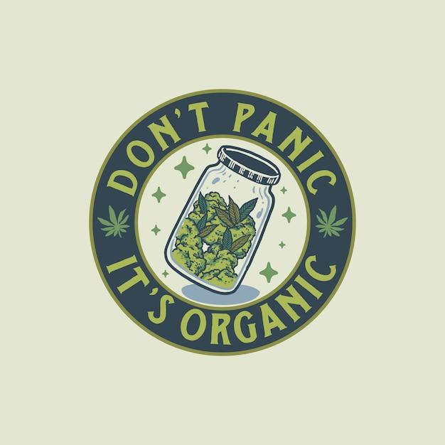 Ilustración dibujada a mano de la insignia de cannabis vintage Vector Premium