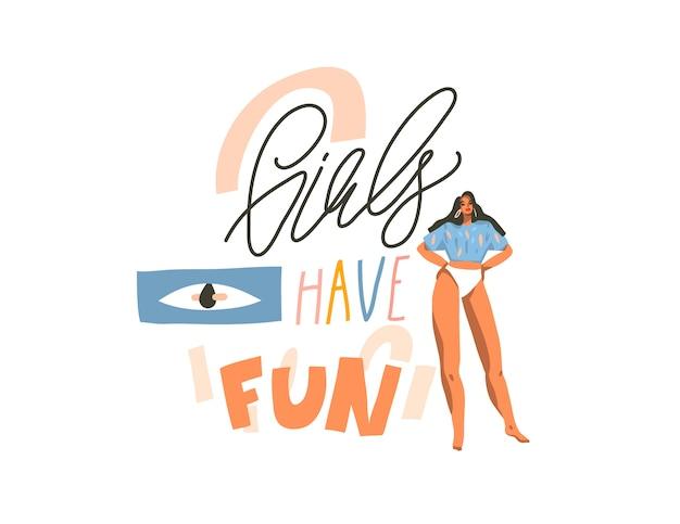 Ilustración dibujada a mano con jóvenes felices bailando mujeres positivas con chicas solo quieren divertirse, texto de caligrafía manuscrita sobre fondo blanco collage Vector Premium