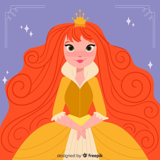 Ilustración dibujada a mano princesa pelirroja vector gratuito