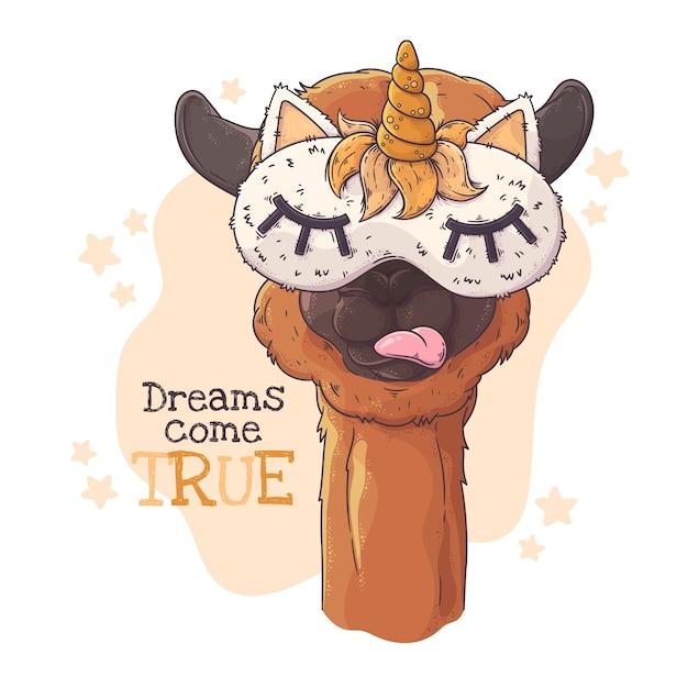 Ilustración dibujada a mano. retrato de linda alpaca en antifaz para dormir. Vector Premium