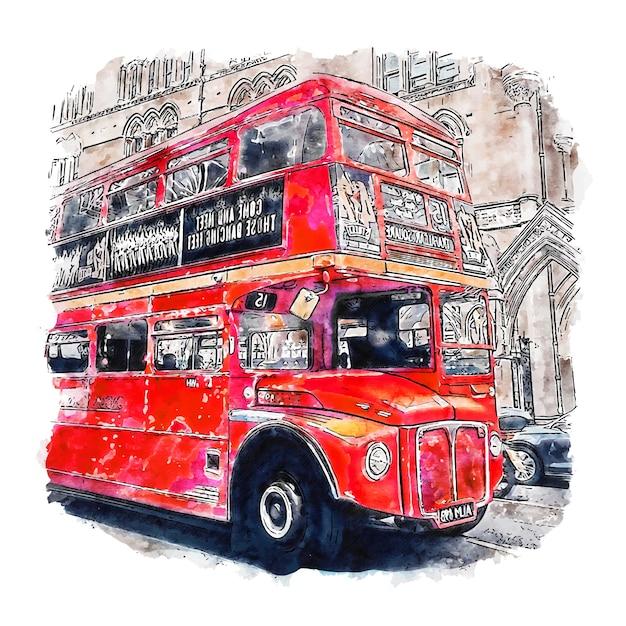 Ilustración de dibujado a mano de bosquejo de acuarela de autobuses rojos tradicionales de londres Vector Premium