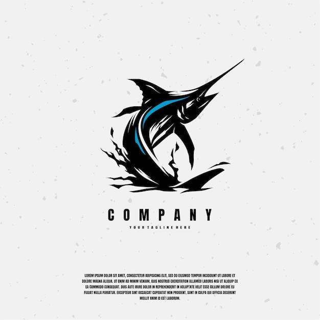 Ilustración de dibujo de pez marlin azul premium Vector Premium