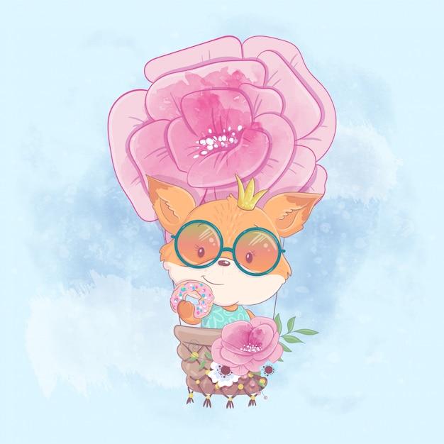Ilustración de dibujos animados de acuarela de una linda chica zorro en un globo Vector Premium