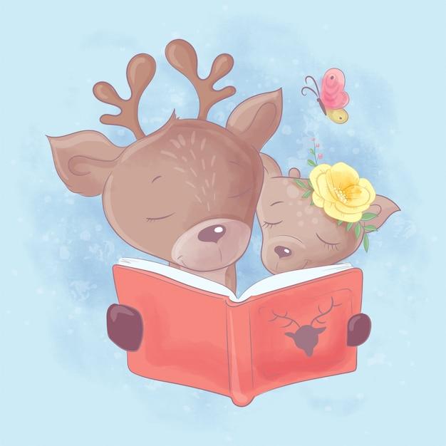 Ilustración de dibujos animados de acuarela de un lindo ciervo padre e hija están leyendo un libro Vector Premium