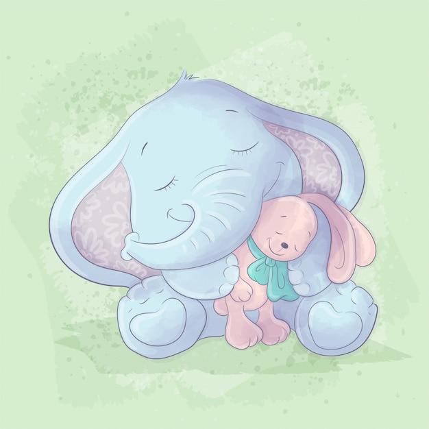 Ilustración de dibujos animados de acuarela de un lindo elefante con un juguete de conejo Vector Premium
