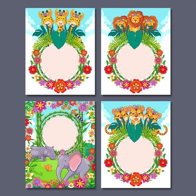 Ilustración de dibujos animados de animales de la selva linda para tarjeta de invitación de fiesta o tarjeta de felicitación para cumpleaños de niños Vector Premium