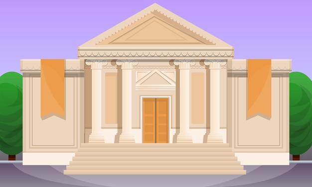 Ilustración de dibujos animados del antiguo museo Vector Premium