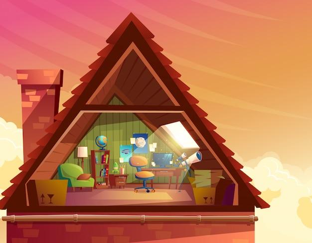Ilustración de dibujos animados de ático, mansarda, loft bajo el techo del edificio vector gratuito