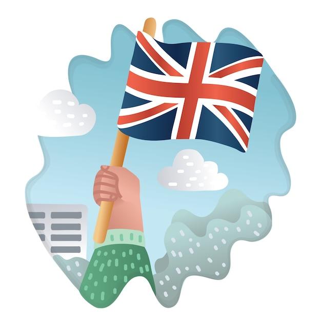 Ilustración de dibujos animados de bandera inglesa sostenida en mano humana Vector Premium