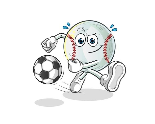 Ilustración de dibujos animados de béisbol pateando la pelota Vector Premium