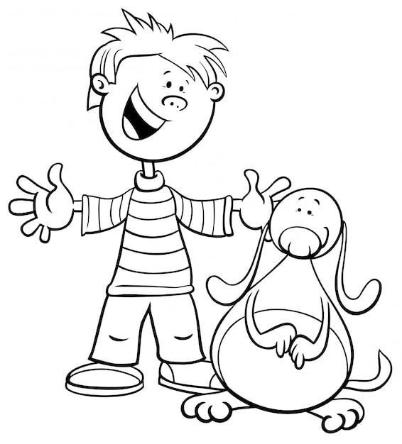 Ilustración de dibujos animados en blanco y negro de niño con perro ...