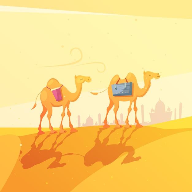 Ilustración de dibujos animados de camellos en el desierto vector gratuito