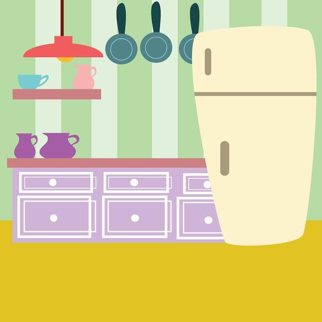 Ilustracion De Dibujos Animados De Cocina Vector Premium