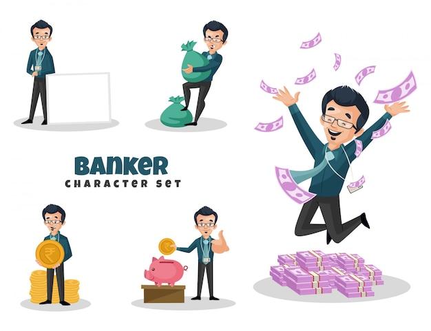 Ilustración de dibujos animados del conjunto de caracteres del banquero Vector Premium