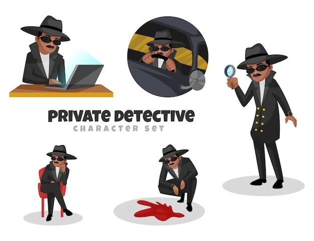 Ilustración de dibujos animados del conjunto de caracteres de detective privado Vector Premium