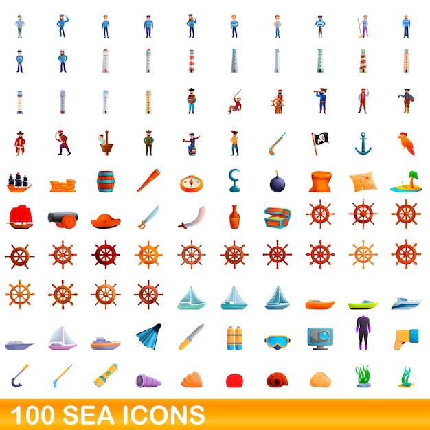 Ilustración de dibujos animados de conjunto de iconos de mar aislado en blanco Vector Premium