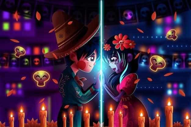 Ilustración de dibujos animados de dia de los muertos Vector Premium