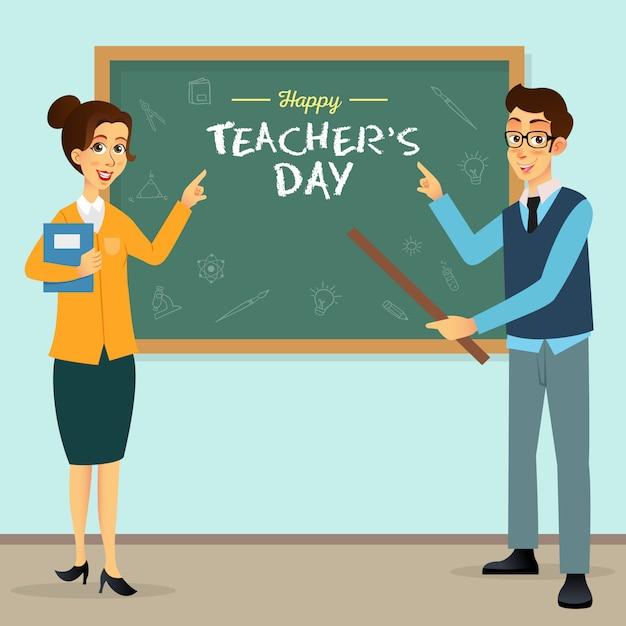 Ilustración de dibujos animados feliz día del maestro. adecuado para tarjetas de felicitación, carteles y pancartas. Vector Premium