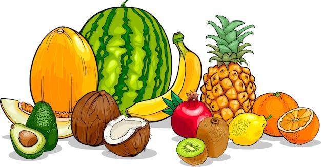 Ilustración de dibujos animados de frutas tropicales Vector Premium