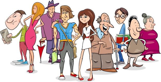 Ilustración De Dibujos Animados De Grupo De Personas
