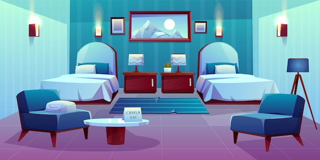 Ilustración de dibujos animados de habitación doble de hotel | Vector Gratis