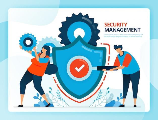 Ilustración de dibujos animados humanos para controles de seguridad y gestión de prevención. Vector Premium