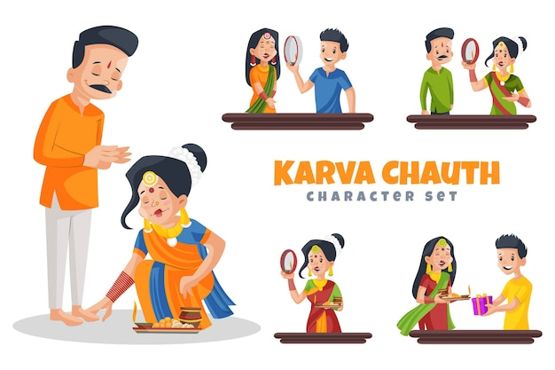 Ilustración de dibujos animados de karva chauth character set Vector Premium