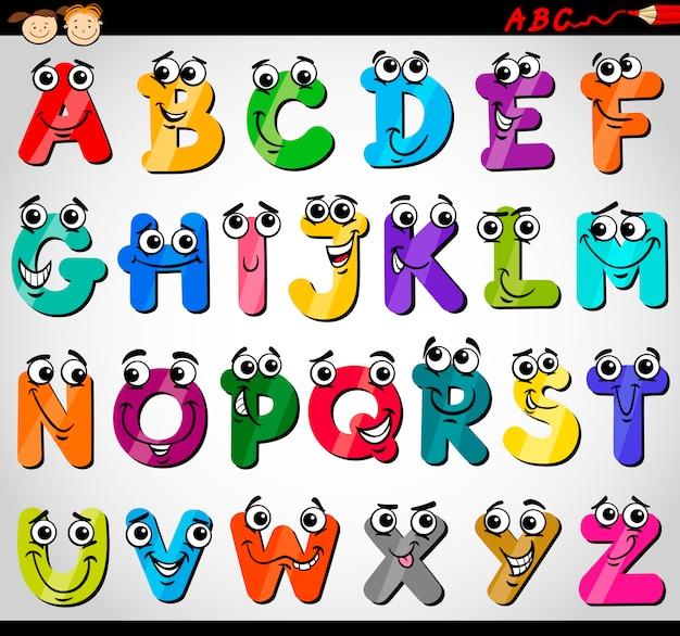 Ilustración de dibujos animados de letras mayúsculas alfabeto ...