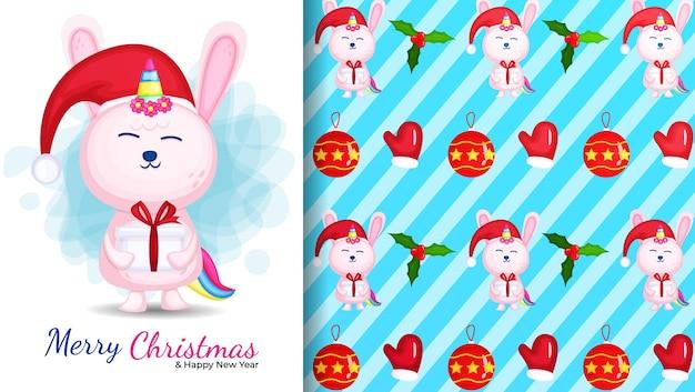 Ilustración de dibujos animados lindo conejito unicornio y patrones sin fisuras Vector Premium