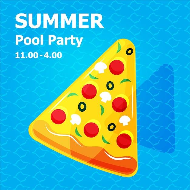 Ilustración de dibujos animados lindo plano de inflable o flotador en la tarjeta de invitación concepto de fiesta en la piscina de verano Vector Premium
