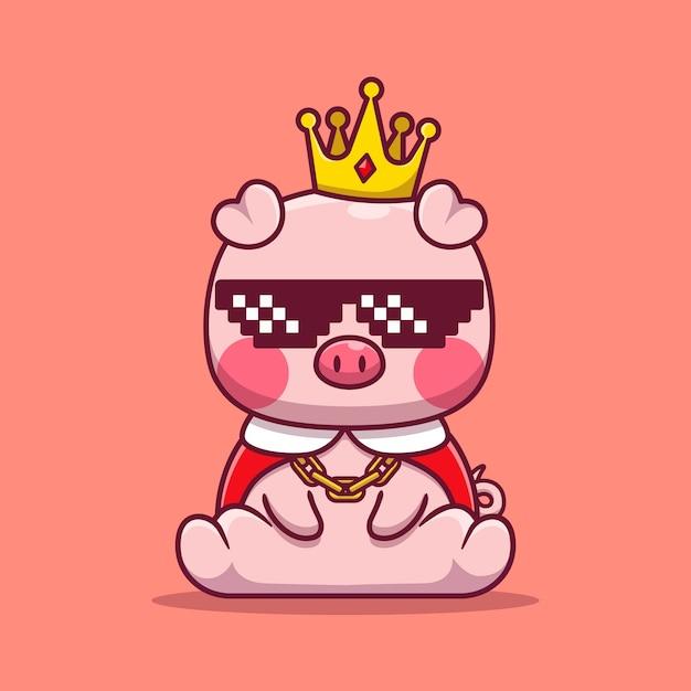 Ilustración de dibujos animados lindo rey cerdo con gafas. concepto animal aislado. caricatura plana vector gratuito