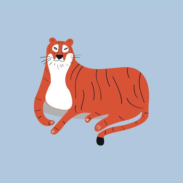 Ilustración De Dibujos Animados Lindo Tigre Salvaje