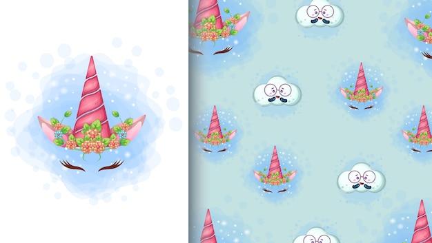 Ilustración de dibujos animados lindo unicornio y patrones sin fisuras Vector Premium
