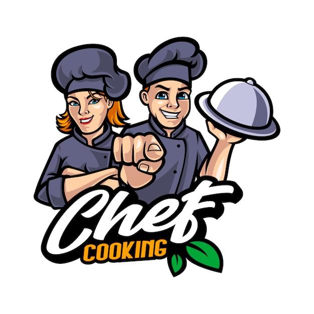 Ilustración de dibujos animados de mascota chef Vector Premium