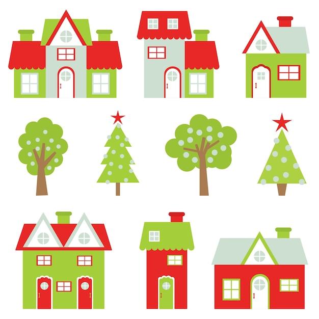 Ilustración De Dibujos Animados De Navidad Con Casas De Colores Y El
