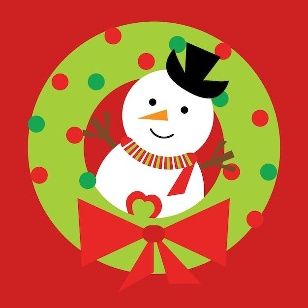 Ilustración De Dibujos Animados De Navidad Con Lindo Muñeco De Nieve