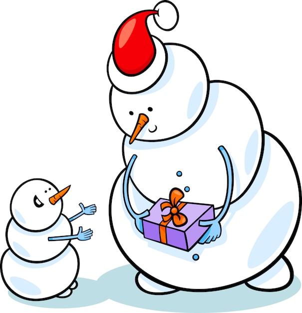 Ilustración De Dibujos Animados Navidad Muñecos De Nieve Descargar