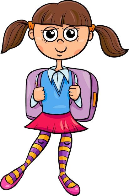Ilustración de dibujos animados de niña de escuela primaria ... bfa801f7ef9