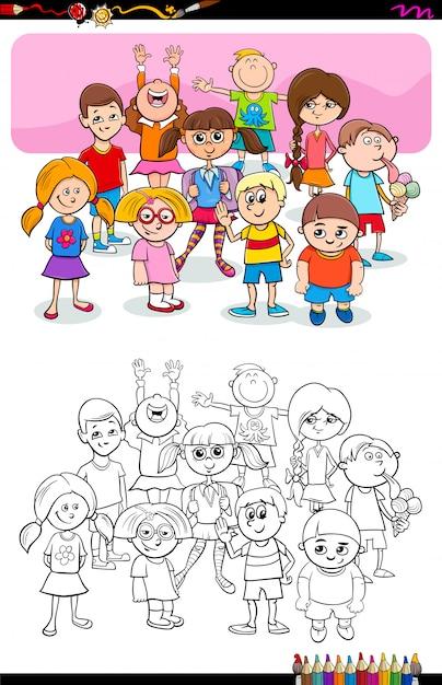 Ilustración De Dibujos Animados De Niños Y Niñas Libro Para